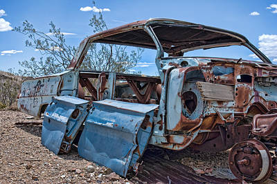 Abandoned Car In The Desert Poster by Leah McDaniel
