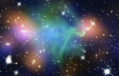 Abell 520 Galaxy Cluster Poster by Nasa, Esa, Cfht, Cxo, M.j. Jee (university Of California, Davis), And A. Mahdavi (san Francisco State University)