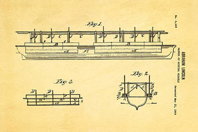 Abraham Lincoln Buoyancy Patent Art 1849 Poster by Ian Monk