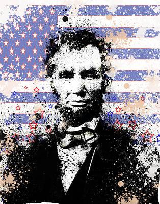 Abraham Lincoln Pop Art Splats Poster by Bekim Art