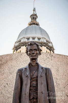 Abraham Lincoln Statue At Illinois State Capitol Poster by Paul Velgos