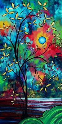 Abstract Art Landscape Tree Blossoms Sea Painting Under The Light Of The Moon II By Madart Poster by Megan Duncanson