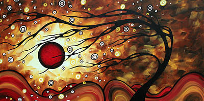 Abstract Art Original Circle Painting Flaming Desire By Madart Poster by Megan Duncanson
