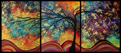 Abstract Art Original Landscape Painting Go Forth By Madart Poster by Megan Duncanson