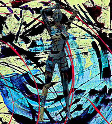 Abstract Beauty She Jumped Out Of My Canvas 7890 Poster by Sir Josef Social Critic - ART