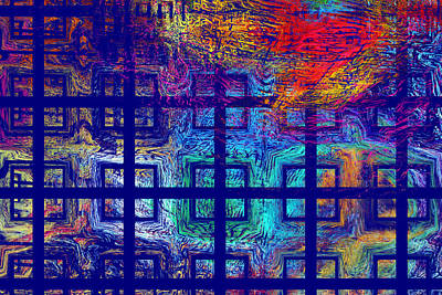 Abstract Blue Psychedelic Tiled Fractal Flame Poster by Keith Webber Jr