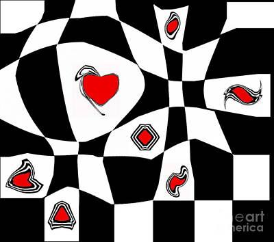 Abstract Geometric Black White Red Art Print No.74.  Poster by Drinka Mercep