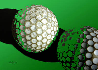 Abstract  Golf Balls In Green  Poster by Ann Powell
