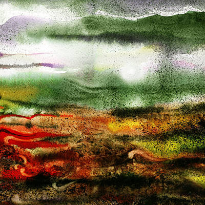 Abstract Landscape Sunrise Sunset Poster by Irina Sztukowski