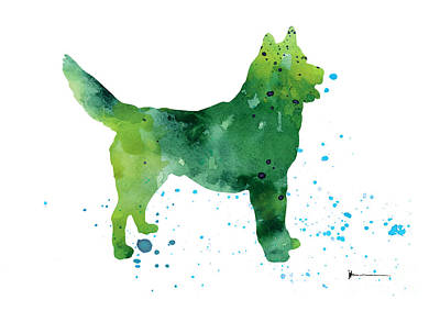 Abstract Siberian Husky Watercolor Art Print Painting Poster by Joanna Szmerdt