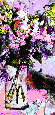 Abstract Still Life In Lavender Poster by Ginette Callaway