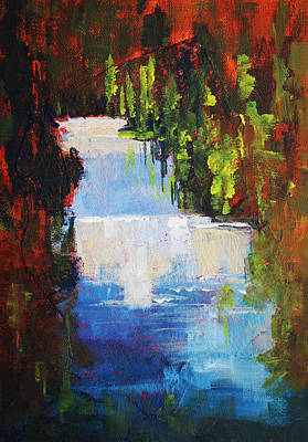 Abstract Waterfall Painting Poster by Nancy Merkle