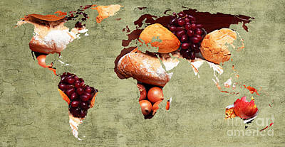 Abstract World Map - Harvest Bounty - Farmers Market Poster by Andee Design