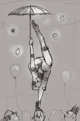 Acrobat On Clowns Poster by H James Hoff