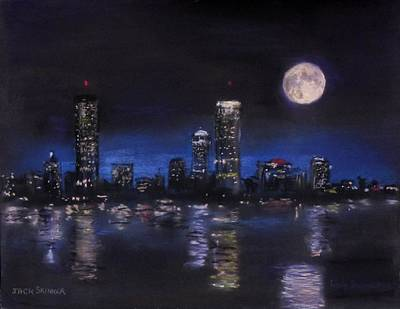 Across The Charles At Night Poster by Jack Skinner