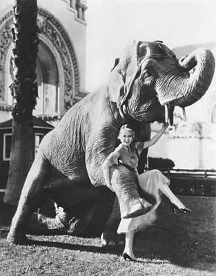 Dancing With Elephant Poster by Underwood Archives