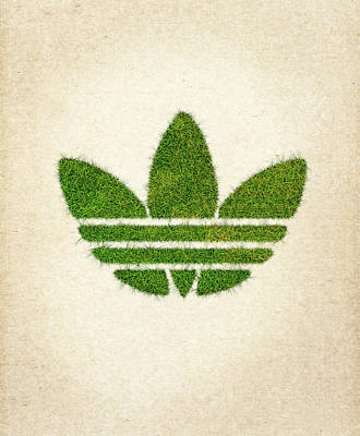 Wasted Poster featuring the drawing Adidas Grass Logo by Aged Pixel