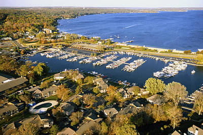Aerial Of The Abbey Harbor - Fontana Wisconsin Poster by Bruce Thompson