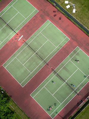 Aerial Straight Down View Of Tennis Courts Poster by Rob Huntley