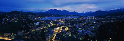 Aerial View Of A City At Dusk, Lucerne Poster by Panoramic Images