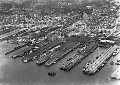 Aerial View Of Brooklyn Docks Poster by Underwood & Underwood