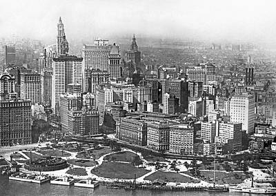 Aerial View Of Nyc Battery Poster by Underwood Archives