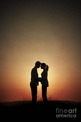Affectionate Couple At Sunset In Silhouette Poster by Lee Avison