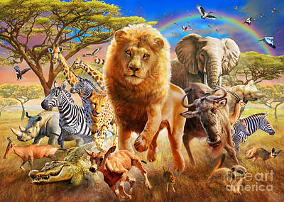 African Stampede Poster by Adrian Chesterman