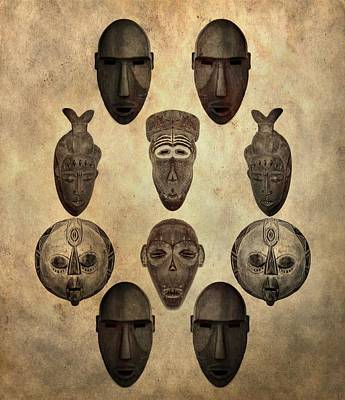 African Tribal Masks Poster by Dan Sproul