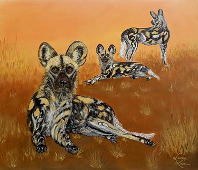 African Wild Dogs At Dusk Poster by Lorna Loxton