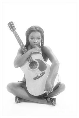 African Woman And Guitar 1012.01 Poster by Kendree Miller