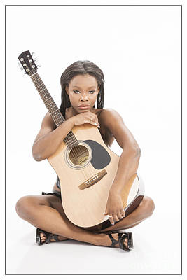 African Woman And Guitar 1012.02 Poster by Kendree Miller