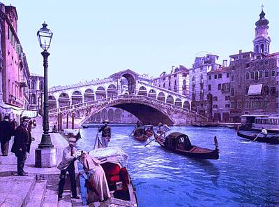 Afternoon At The Rialto Bridge Venice Italy II Poster by L Brown