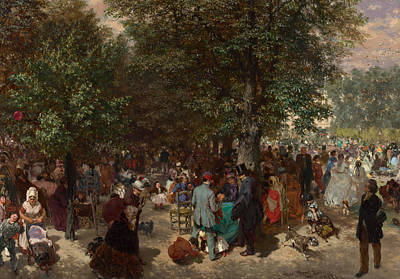 Afternoon In The Tuileries Gardens Poster by Adolph Friedrich Erdmann von Menzel