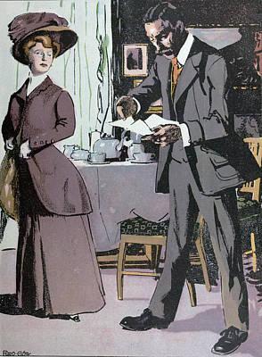 Afternoon Tea, Tea, Lady, Man, Table, Teapot, Tea,  Food Poster by Gotz, Ferdinand (1874-1936), German