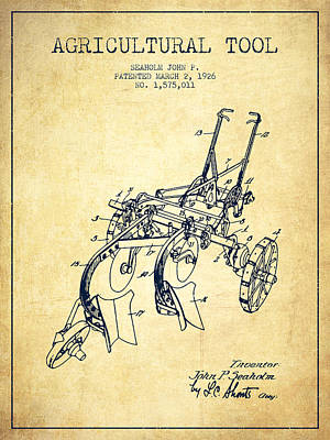 Agricultural Tool Patent From 1926 - Vintage Poster by Aged Pixel