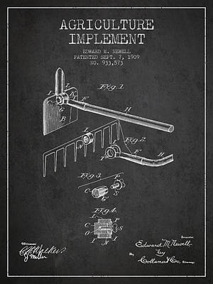 Agriculture Implement Patent From 1909 - Dark Poster by Aged Pixel