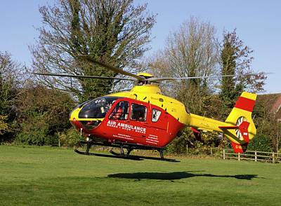 Air Ambulance Helicopter Poster by Sheila Terry