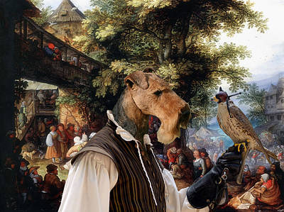Airedale Terrier Art - Village Dance With Falconer Poster by Sandra Sij