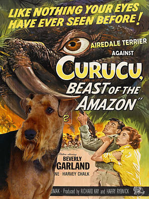 Airedale Terrier Art Canvas Print - Curucu Movie Poster Poster by Sandra Sij