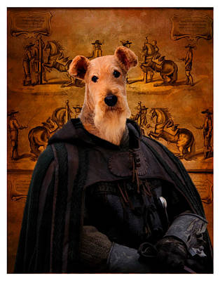 Airedale Terrier Art Canvas Print - Knight Poster by Sandra Sij