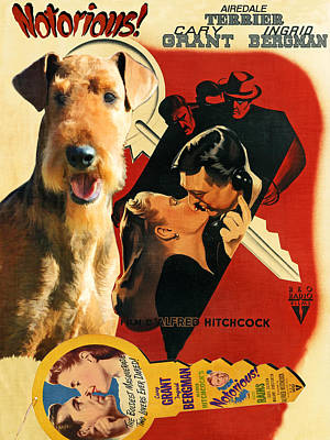 Airedale Terrier Art Canvas Print - Notorious Movie Poster Poster by Sandra Sij