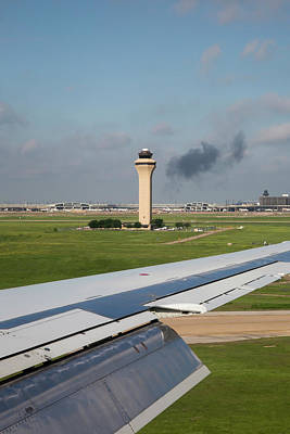 Airport Control Tower And Airplane Wing Poster by Jim West