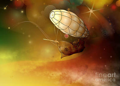 Airship Ethereal Journey Poster by Bedros Awak