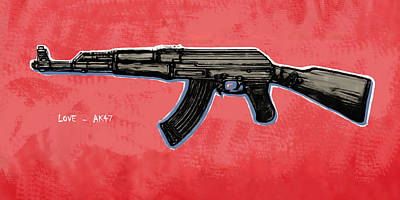 Ak - 47 Gun Pop Art Drawin Poster Poster by Kim Wang