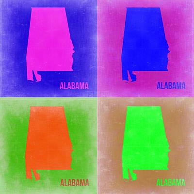 Alabama Pop Art Map 2 Poster by Naxart Studio