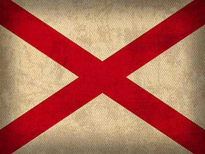 Alabama State Flag Art On Worn Canvas Poster by Design Turnpike