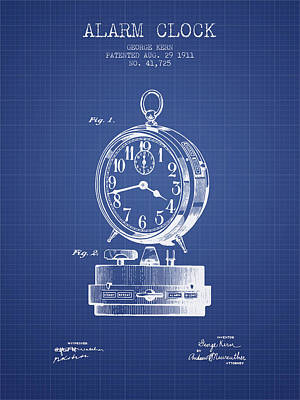 Alarm Clock Patent From 1911 - Blueprint Poster by Aged Pixel