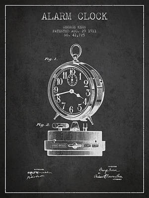 Alarm Clock Patent From 1911 - Dark Poster by Aged Pixel