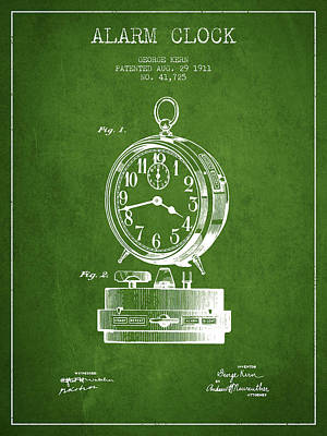 Alarm Clock Patent From 1911 - Green Poster by Aged Pixel